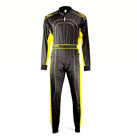 Speed Kart Combination - Bi-Couleur - Noir avec Jaune - Karting Suit (160) ohs