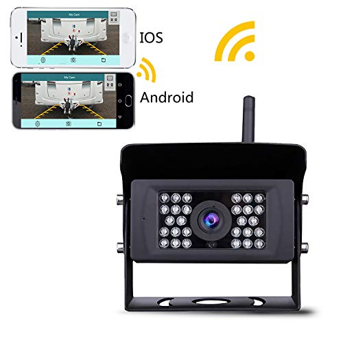 Wireless Backup Camera, Lastbus Night Vision Wide View Angle Waterproof WiFi Rear View Camera for iPhone iPad Android Phone Tablet (Best Rv Wireless Rear View Camera)