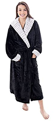 Livingston Women Luxurious Classic FlannelSleeve Collar Bath Robe w/Pockets