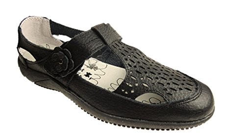 DR LIGHTFOOT WOMENS FULL LEATHER CASUAL COMFORT MARY JANE LOAFERS FLAT SHOES SANDALS GIRLS LADIES SIZE UK 3 - 8 Black