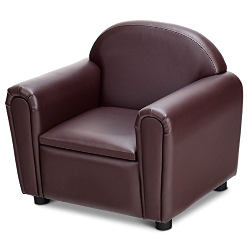 Brown Multifunctional Kids PVC Leather Sofa Armrest Chair w/Storage Bottom with ebook For Sale