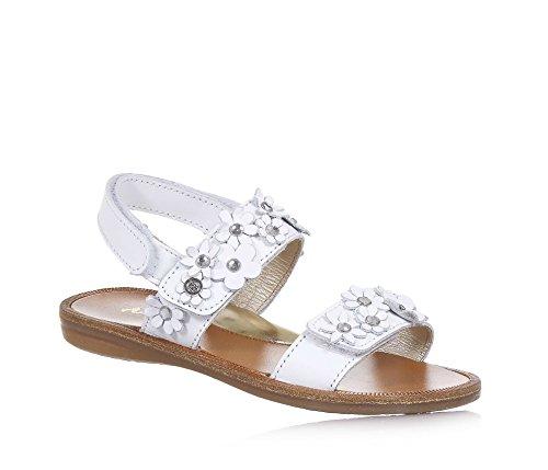 Naturino Weiße Sandale Aus Leder, Seitlich Ein Klettverschluss, auf der Vorderseite Blumenapplikationen mit Strass, Mädchen