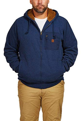 Coleman Sherpa-Lined Hoodie with Zip Chest Pocket (XXX Large, Midnight Navy (Navy, XXL)