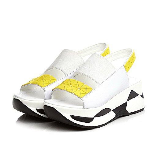 Amoonyfashion Femmes Kitten-heels Matière Souple Couleur Assortie Élastique Sandales À Bouts Ouverts Blanc