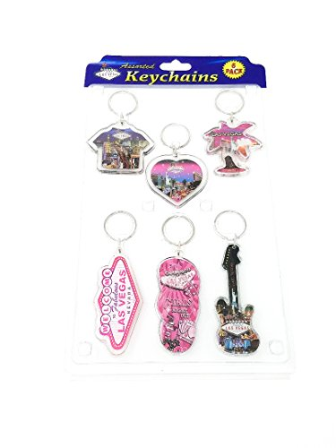 VARIETY PACK OF 6 LAS VEGAS ACRYLIC KEYCHAINS (COLORS/STYLES VARY # 2191111)