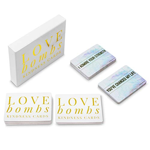 Love Bombs - 111 Gold Embossed Kindness Cards, Sincere Words of Appreciation, Compliments, Gratitude, Admiration & Encouragement to Strengthen Relationships & Overcome Shyness & Insecurity (Best Words To Compliment A Woman)