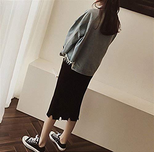 Blu Button Cute Manica Lunga Giacche Fiore Tasche Giacca Outerwear Chic Moda Jeans Primaverile Cappotto Stampa Denim Eleganti Autunno Ricamo Con Festiva Donna w1HAFqZ
