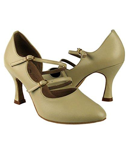 Scarpe Da Ballo Latino Per Ballare Tango Latino Molto Fine Per Le Donne Pp201 Tacco 2,5 Pollici + Pelo Pieghevole In Pelle Beige