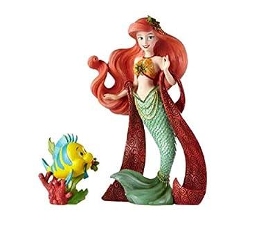 "Enesco Disney Showcase ""The Little Mermaid"" Holiday Ariel and Flounder Stone Resin Figurine Set, Set of 2, Multicolor"