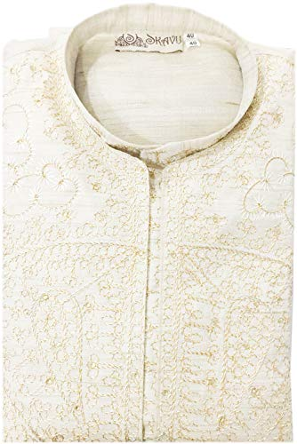 e79d6ee2ecf Kurta Pajama Stole and Overcoat Set for Men 4-Pieces Long Sleeve Sherwani  Wedding Party