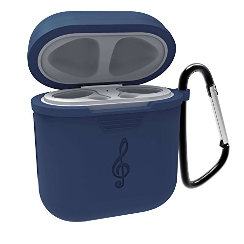 Case For Apple Airpods. High Qualified, High Tensile Strength Silicone Shock Proof Protective Airpods Cover. One comes with Keychain Airpods Skins for Apple Airpods Accessories. Musical LOGO (Apple Logo Key)