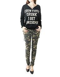 Women's Letter Printed V Neck Fashion Sweatshirt