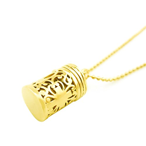 Antiqued Cylinder Cross Cage Necklace Wish Prayer Box Hollow Locket Pendant Hold Charms Stones Essential Oil Diffuser-Gold Antiqued Prayer Box Charm