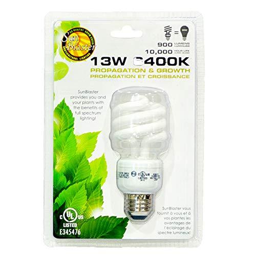SunBlaster CFL Self ballasted Propagation lamp, 6400K Light Spectrum, 13 Watt, Fits Standard Size Light Socket ()