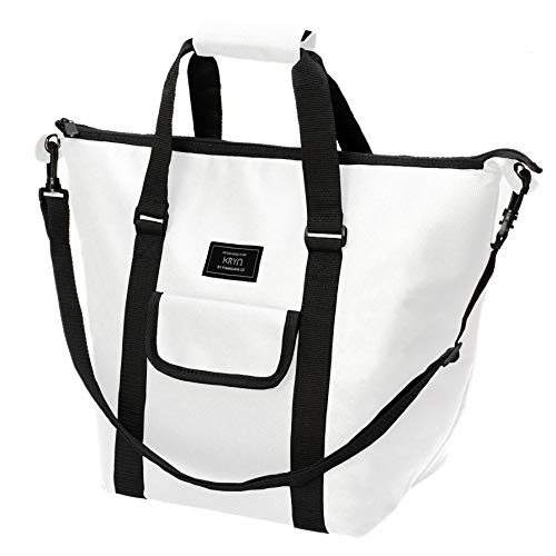 Insulated Portable Tote Bag by KRYO - Large picnic lunch cooler bags - Mens and Womens oversized travel totes with shoulder strap - Thermal Insulation coolers for cold food, beverages and wine (White)