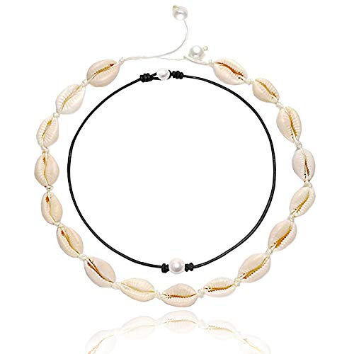 Pearl Shell Choker Necklace for Women, Pearl Necklace Black String Cowrie Puka Seashell Pearls Necklace Choker Hawaiian Beach Adjustable Handmade Necklaces Set