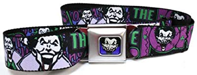 DC Comics Batman Seatbelt Belt - Joker Face Logo Spades Black/Green/Purple