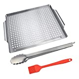KALREDE BBQ Grill Basket-Stainless Steel Grill Pan for Grilling and Roasting Seafood and Vegetables- Heavy Duty Food Tongs and Silicone BBQ Basting Brush-BBQ Tool Accessories(3pcs)