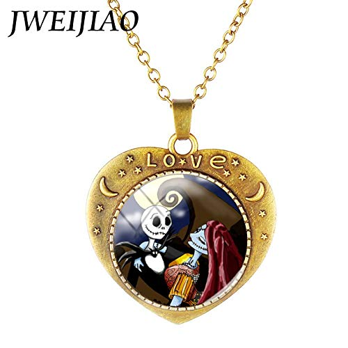 Heart Shape Jack SkellingtonAnd Sally Necklace Nightmare Before Christmas Pendant Glass Cabochon Necklace Love Jewelryj688