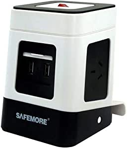SAFEMORE Mini Vertical Power Board with 2 USB Ports and 3 Plugs, White and Black, (SM-ZL2U3GA)