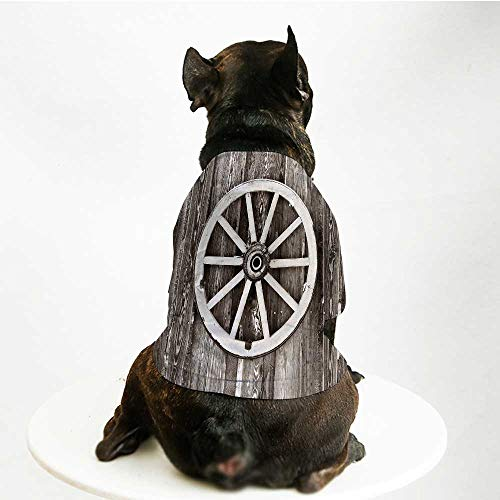 - YOLIYANA Barn Wood Wagon Wheel Fashion Pet Suit,Retro Wheel on Timber Wall Barn House Village Cart Circle Decorative for Cats and Dogs,S
