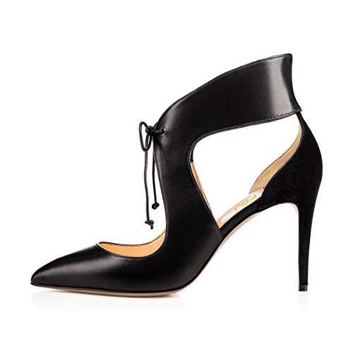 Fsj Femmes Élégantes Chaussures À Talons Hauts Lacent Sandales Découpées Parti Robe De Soirée Chaussures Taille 4-15 Us Noir-8 Cm