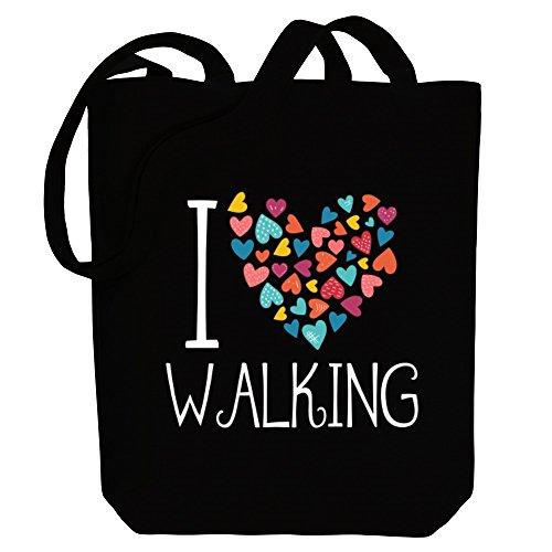 Idakoos I love Walking colorful hearts - Sport - Bereich für Taschen Hc93Aiv