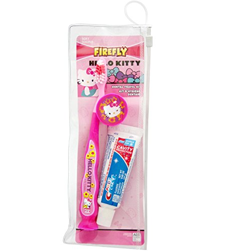 Firefly Hello Kitty Kid's Dental Travel Kit - 1 Toothbrush, 1 Toothpaste, and Toothbrush Cover, Ages 6+