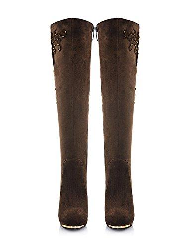 Moda Stivaletti Lunghi Tacco Casual ShallGood High Donne Autunno Inverno Sopra Stivali Caff Alto Heel BwAA7Iqf