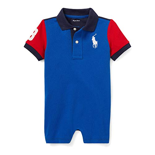 Ralph Lauren Polo Big Pony Infant Mesh Shortall (3 Months, Coastal Blue Multi) (Ralph Lauren Baby Boy Bodysuit)