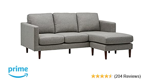Rivet Revolve Modern Reversible Chaise Sectional, Grey Weave, 80