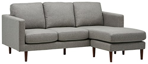"Rivet Revolve Modern Upholstered Sofa with Reversible Sectional Chaise, 80""W, Grey Weave"