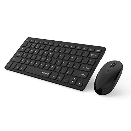 Wireless Keyboard and Mouse, Jelly Comb 2.4G Slim Compact Quiet Small Keyboard and Mouse Combo for Windows, Laptop, PC, Notebook-Black