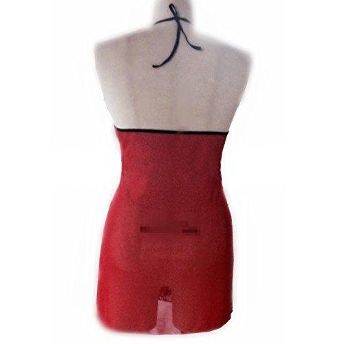 YRYMQU Talla grande lencería abierta fork encaje transparente falda corta Temptation suspensorios pijama , M M