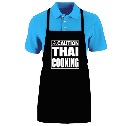 Funny ''CAUTION - THAI COOKING'' Medium Length Kitchen Unisex Apron by Mighty Ambitious Designs