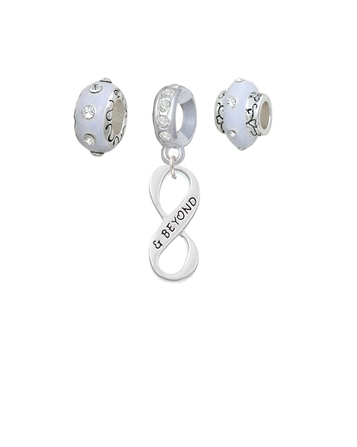 & Beyond Infinity Sign White Charm Beads (Set of 3)
