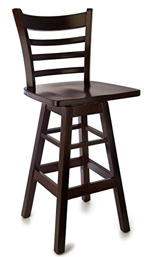 SD-5BSWW-DM Solid Beech Wood Swivel Bar Stool in Dark Mahogany with wood seat for Kitchen and dining ()