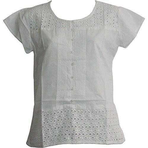 Missy Plus Indian Gauze Cotton Eyelet Short Sleeve Blouse Top UMA (3X, -