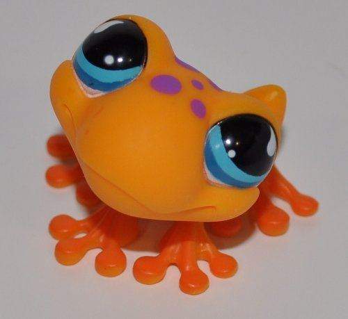 - Littlest Pet Shop Collector Toy Orange, Aqua Eyes, Purple Spots OOP Out of Package /& Print Frog #874 LPS Collectible Replacement Single Figure Retired Loose