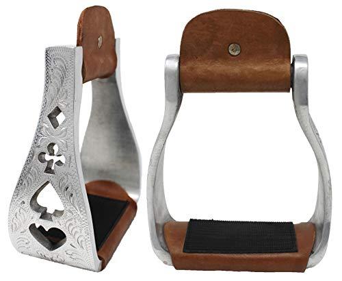 Challenger Tack Horse Saddle Aluminum Western Riding Stirrups Leather Tread 51152