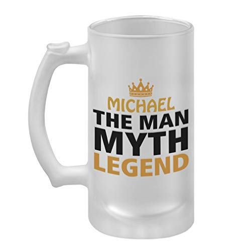 Personalized Custom Text The Man Myth Legend Frosted Glass Stein Beer Mug
