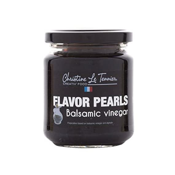 Christine Le Tennier Balsamic Vinegar Flavor Pearls, 7oz Jar 1 Great value (7oz Jar contains 40 - 50 servings) Use: Cocktails, Entrees, Desserts Great over salads or other appetizers