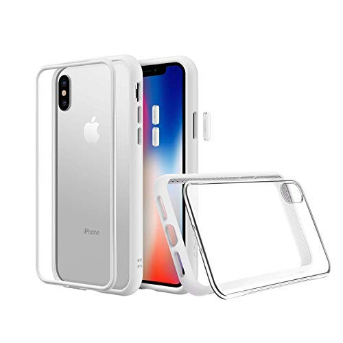 RhinoShield Modular Case for iPhone Xs Max [Mod NX] | Customizable Shock Absorbent Heavy Duty Protective Cover - Compatible w/Wireless Charging & Lenses - Shockproof White Bumper w/Clear Back