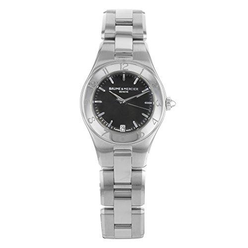 Baume & Mercier Women's 10010 Linea Black Dial Stainless Steel Watch (Linea Womens Watch)