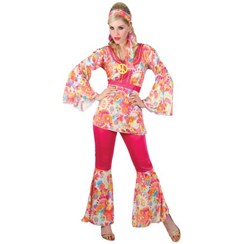 LADIES HIPPIE HONEY (S) COSTUME 10-12 FANCY DRESS (1960 Outfits)