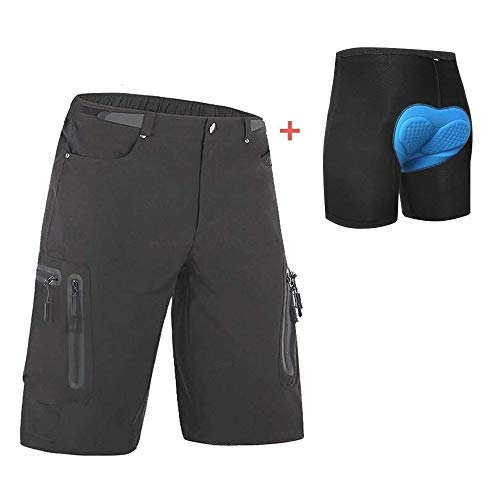 Ally Padded Mountain Bike Shorts, Mens MTB Shorts, Baggy Cycling Shorts with Removable Padding Underwear Liner, Water Repellent & 7 Pockets