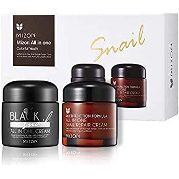 Mizon Colorful Youth Set: All in One Snail Repair Cream (75ml) and Black Snail All in One Cream (75ml) | Day and Night Face Moisturizing Snail Mucin Extract, Anti-wrinkles, Blemish Care and Firming