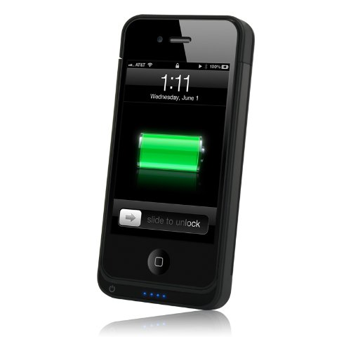 Naztech iPhone 4 , 4s 2400 mAh MFi Apple Certified Portable Battery Charger Case- Retail Packaging - Black