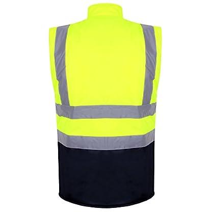 Hi Viz 2 Tone Reversible Bodywarmer Waterproof Warm Mens Workwear Security Vest