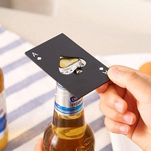 DSJJ Roestvrij Card Poker Bottle Opener Mannen Gift Spades Poker Bar Tool Black